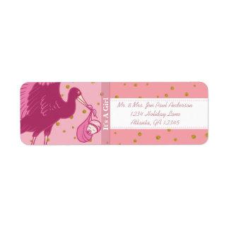 Etiqueta Nuevo bebé de la cigüeña es puntos de un rosa del