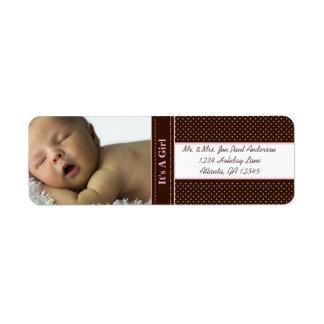 Etiqueta Nuevo bebé es un chica Brown y puntos rosados