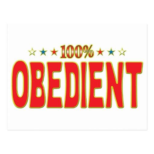 Etiqueta obediente de la estrella postal
