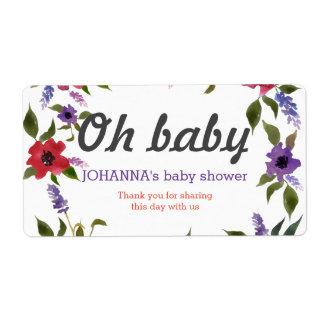 Etiqueta Oh la acuarela del bebé florece favor de la