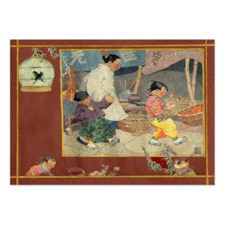 Etiqueta oriental del regalo del libro de recuerdo tarjeta personal