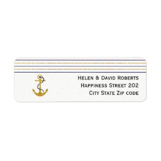 Etiqueta Oro, ancla de la marina de guerra y boda náutico