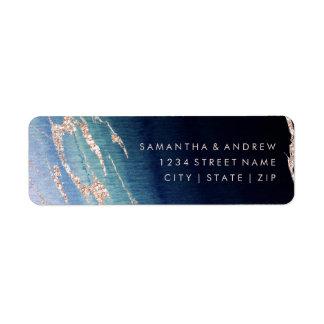 Etiqueta Oro de la ágata de Ombre de los azules marinos que