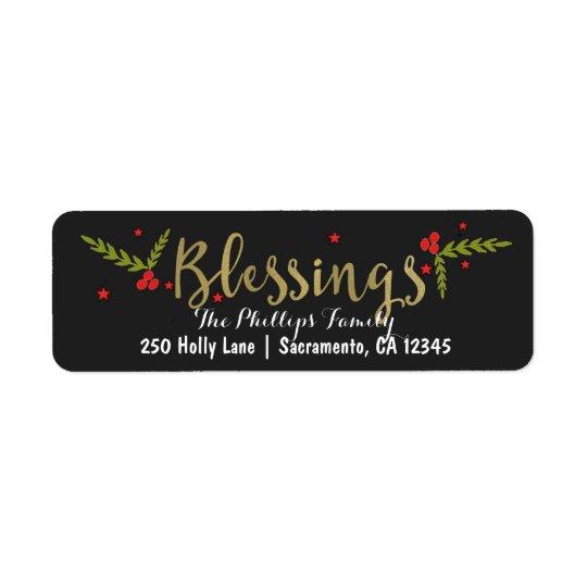 Etiqueta Oro negro de las bendiciones y tarjeta roja del