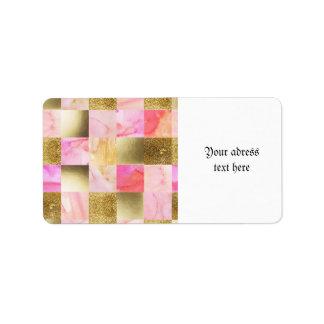 Etiqueta oro, pasteles, colores de agua, cuadrados,