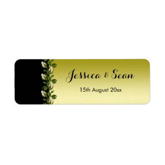 Etiqueta Oro romántico floral elegante y boda negro