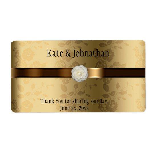 Etiqueta Oro y vino marrón del boda