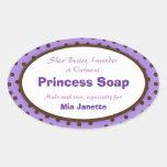 Etiqueta oval del jabón de los lunares de la lavan