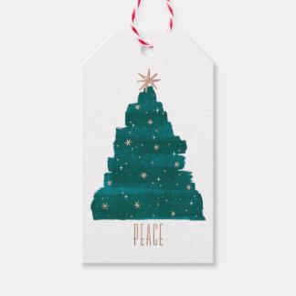 Etiqueta Painterly del regalo del navidad del