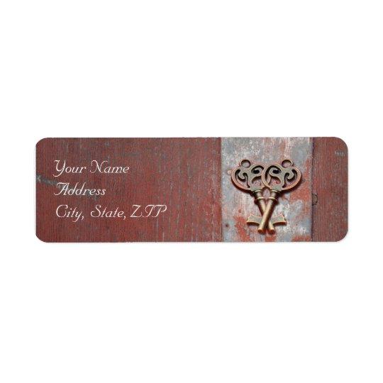 Etiqueta País pintado de madera con las llaves maestras