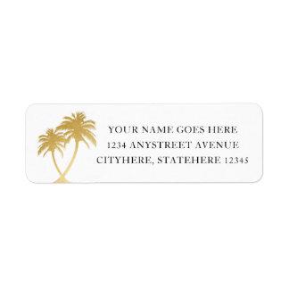 Etiqueta Palmera del oro para el boda del destino de la