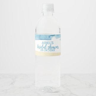 Etiqueta Para Botella De Agua Arena de la acuarela y ducha nupcial del mar