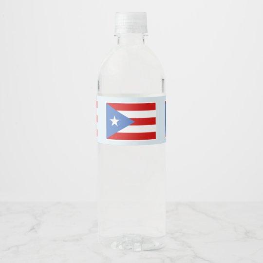 Etiqueta Para Botella De Agua Bandera de Puerto Rico en azul claro