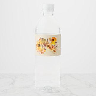 Etiqueta Para Botella De Agua Bendiciones del otoño