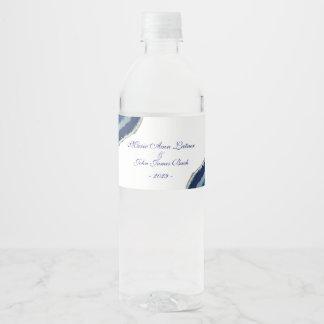 Etiqueta Para Botella De Agua Boda azul de la ágata
