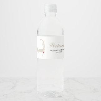 Etiqueta Para Botella De Agua Boda del mapa de Chatham Cape Cod de la arena del