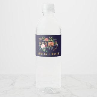 Etiqueta Para Botella De Agua Boda floral del otoño