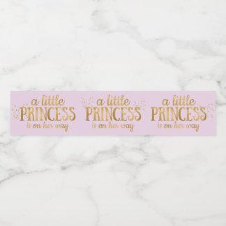 Etiqueta Para Botella De Agua Chica de la hoja de oro del rosa de la princesa