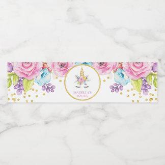 Etiqueta Para Botella De Agua Cumpleaños floral del unicornio de la acuarela