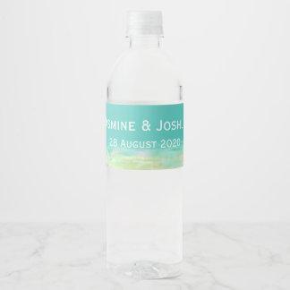 Etiqueta Para Botella De Agua El agua azul de la aguamarina/la costa pintada de