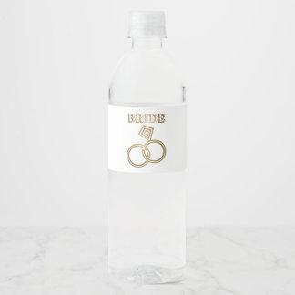 Etiqueta Para Botella De Agua El oro ligado suena el boda de la novia