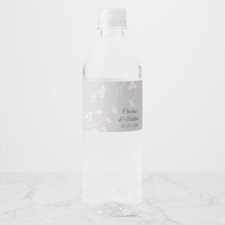 Etiqueta Para Botella De Agua El pastel se ruboriza boda rosado y gris claro