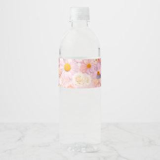 Etiqueta Para Botella De Agua El rosa florece la primavera nupcial del boda