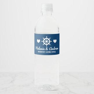 Etiqueta Para Botella De Agua Favor de banquete de boda náutico de los azules