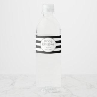 Etiqueta Para Botella De Agua Felices Navidad de encargo de plata de las rayas