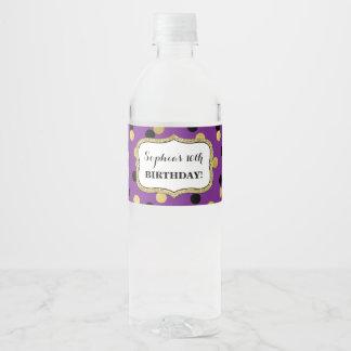 Etiqueta Para Botella De Agua Fiesta de cumpleaños de encargo del confeti negro