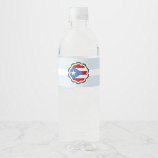 Etiqueta Para Botella De Agua Fiesta de la flor, bandera puertorriqueña