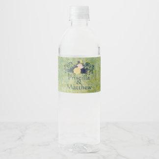 Etiqueta Para Botella De Agua Floral esmeralda rústico