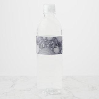 Etiqueta Para Botella De Agua Fractal gris