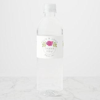 Etiqueta Para Botella De Agua Hydrangea de las rosas fuertes del favor del boda