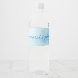Etiqueta Para Botella De Agua Las nubes de estrellas pintadas del oro del cielo