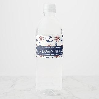 Etiqueta Para Botella De Agua Modelo del timón del ancla de los azules marinos y