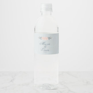Etiqueta Para Botella De Agua Palidezca - color de rosa romántico rosado