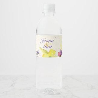 Etiqueta Para Botella De Agua Pensamientos perfectos, florales