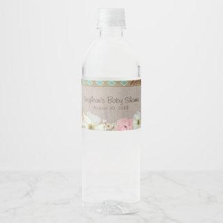 Etiqueta Para Botella De Agua Pluma rústica de Boho y ducha floral