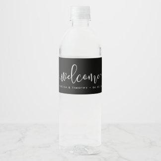 Etiqueta Para Botella De Agua Recepción blanco y negro del boda