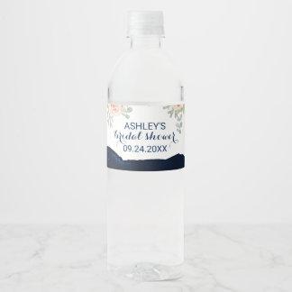 Etiqueta Para Botella De Agua Rosa floral del melocotón y ducha nupcial de la