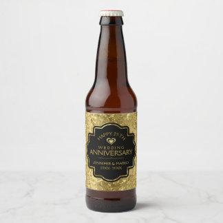 Etiqueta Para Botella De Cerveza 50.o Negro del aniversario de boda y damascos del