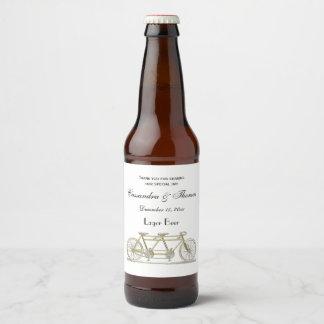 Etiqueta Para Botella De Cerveza Bicicleta del vintage construida para dos/oro en