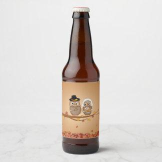 Etiqueta Para Botella De Cerveza Búhos caprichosos de la acción de gracias
