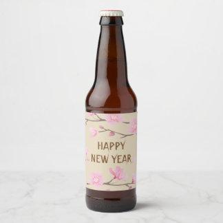 Etiqueta Para Botella De Cerveza Flor de cerezo - Feliz Año Nuevo