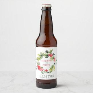 Etiqueta Para Botella De Cerveza Guirnalda floral el | de la acuarela del invierno