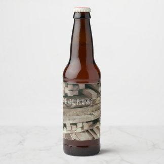 Etiqueta Para Botella De Cerveza La madera, los haces y la madera de construcción