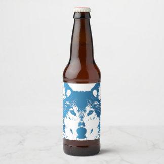 Etiqueta Para Botella De Cerveza Lobo de los azules claros del ilustracion