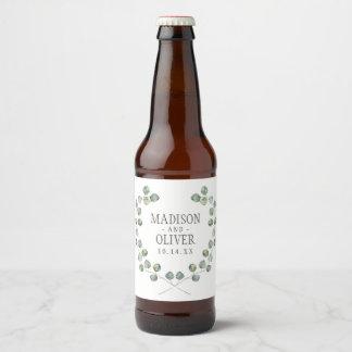 Etiqueta Para Botella De Cerveza Marco el | de la hoja del eucalipto de la acuarela