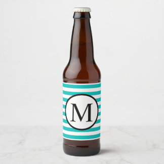 Etiqueta Para Botella De Cerveza Monograma simple con las rayas horizontales de la